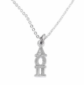 <bR>      WHOLESALE FASHION SORORITY JEWELRY  <BR>                     EXCLUSIVELY OURS!!  <BR>                AN ALLAN ROBIN DESIGN!!   <BR>               HYPOALLERGENIC - SAFE !!  <BR>          LEAD, NICKEL & CADMIUM FREE!!   <BR> W873SN1 - OFFICIAL SILVER TONE GREEK <BR> ALPHA OMICRON PI SORORITY CHARM ON LOBSTER <Br> CLASP NECKLACE FROM $5.90 TO $9.25 �2015