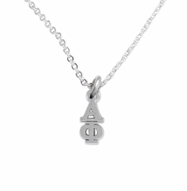 <bR>      WHOLESALE FASHION SORORITY JEWELRY  <BR>                     EXCLUSIVELY OURS!!  <BR>                AN ALLAN ROBIN DESIGN!!   <BR>               HYPOALLERGENIC - SAFE !!  <BR>          LEAD, NICKEL & CADMIUM FREE!!   <BR> W876SN1 - OFFICIAL SILVER TONE GREEK <BR> ALPHA PHI SORORITY CHARM ON LOBSTER<Br> CLASP NECKLACE FROM $5.90 TO $9.25 �2015