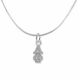<bR>      WHOLESALE FASHION SORORITY JEWELRY  <BR>                     EXCLUSIVELY OURS!!  <BR>                AN ALLAN ROBIN DESIGN!!   <BR>               HYPOALLERGENIC - SAFE !!  <BR>          LEAD, NICKEL & CADMIUM FREE!!   <BR> W876SN2 - OFFICIAL SILVER TONE GREEK <BR> ALPHA PHI SORORITY CHARM ON SNAKE <Br> CHAIN NECKLACE FROM $5.90 TO $9.25 �2015