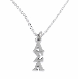 <bR>      WHOLESALE FASHION SORORITY JEWELRY  <BR>                     EXCLUSIVELY OURS!!  <BR>                AN ALLAN ROBIN DESIGN!!   <BR>               HYPOALLERGENIC - SAFE !!  <BR>          LEAD, NICKEL & CADMIUM FREE!!   <BR> W877SN1 - OFFICIAL SILVER TONE GREEK <BR> ALPHA SIGMA ALPHA SORORITY CHARM ON LOBSTER<Br> CLASP NECKLACE FROM $5.90 TO $9.25 �2015