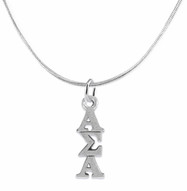 <bR>      WHOLESALE FASHION SORORITY JEWELRY  <BR>                     EXCLUSIVELY OURS!!  <BR>                AN ALLAN ROBIN DESIGN!!   <BR>               HYPOALLERGENIC - SAFE !!  <BR>          LEAD, NICKEL & CADMIUM FREE!!   <BR> W877SN2 - OFFICIAL SILVER TONE GREEK <BR> ALPHA SIGMA ALPHA SORORITY CHARM ON SNAKE <Br> CHAIN NECKLACE FROM $5.90 TO $9.25 �2015