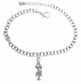 <bR>      WHOLESALE FASHION SORORITY JEWELRY <BR>                      EXCLUSIVELY OURS!!  <BR>                 AN ALLAN ROBIN DESIGN!!  <BR>                HYPOALLERGENIC - SAFE !!   <BR>           LEAD, NICKEL & CADMIUM FREE!!  <BR>    W879B2 - OFFICIAL SILVER TONE GREEK  <BR> ALPHA SIGMA TAU SORORITY CHARM ON LOBSTER  <Br> CLASP BRACELET FROM $5.90 TO $9.25 �2015