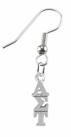 <bR>      WHOLESALE FASHION SORORITY JEWELRY <BR>                      EXCLUSIVELY OURS!!  <BR>                 AN ALLAN ROBIN DESIGN!!  <BR>                HYPOALLERGENIC - SAFE !!   <BR>           LEAD, NICKEL & CADMIUM FREE!!  <BR>    W879E1 - OFFICIAL SILVER TONE GREEK  <BR> ALPHA SIGMA TAU SORORITY CHARM ON STEEL <Br> FISHHOOK EARRINGS FROM $5.90 TO $9.25 �2015