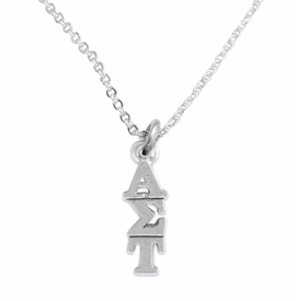<bR>      WHOLESALE FASHION SORORITY JEWELRY <BR>                      EXCLUSIVELY OURS!!  <BR>                 AN ALLAN ROBIN DESIGN!!  <BR>                HYPOALLERGENIC - SAFE !!   <BR>           LEAD, NICKEL & CADMIUM FREE!!  <BR>    W879N1 - OFFICIAL SILVER TONE GREEK  <BR> ALPHA SIGMA TAU SORORITY CHARM ON DELICATE <Br> CHAIN LINK NECKLACE FROM $5.90 TO $9.25 �2015