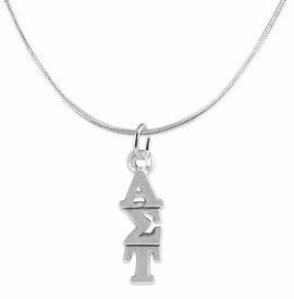 <bR>      WHOLESALE FASHION SORORITY JEWELRY <BR>                      EXCLUSIVELY OURS!!  <BR>                 AN ALLAN ROBIN DESIGN!!  <BR>                HYPOALLERGENIC - SAFE !!   <BR>           LEAD, NICKEL & CADMIUM FREE!!  <BR>    W879N2 - OFFICIAL SILVER TONE GREEK  <BR> ALPHA SIGMA TAU SORORITY CHARM ON DELICATE <Br> SNAKE CHAIN NECKLACE FROM $5.90 TO $9.25 �2015