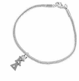 <BR> WHOLESALE FASHION SORORITY JEWELRY <BR> EXCLUSIVELY OURS!! <BR> AN ALLAN ROBIN DESIGN!! <BR>               HYPOALLERGENIC - SAFE !!     <BR>          LEAD, NICKEL & CADMIUM FREE!!    <BR>    W880B7 - OFFICIAL SILVER TONE GREEK  <BR>   KAPPA DELTA SORORITY CHARM ON SNAKE <Br> CHAIN BRACELET FROM $5.90 TO $9.25 �2015