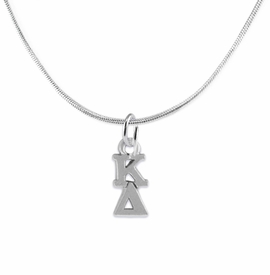 <BR> WHOLESALE FASHION SORORITY JEWELRY <BR> EXCLUSIVELY OURS!! <BR> AN ALLAN ROBIN DESIGN!! <BR>               HYPOALLERGENIC - SAFE !!     <BR>          LEAD, NICKEL & CADMIUM FREE!!    <BR>    W880N2 - OFFICIAL SILVER TONE GREEK  <BR>   KAPPA DELTA SORORITY CHARM ON SNAKE <Br> CHAIN NECKLACE FROM $5.90 TO $9.25 �2015