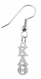 <BR> WHOLESALE FASHION SORORITY JEWELRY <BR> EXCLUSIVELY OURS!! <BR> AN ALLAN ROBIN DESIGN!! <BR>               HYPOALLERGENIC - SAFE !!     <BR>          LEAD, NICKEL & CADMIUM FREE!!    <BR>    W882E1 - OFFICIAL SILVER TONE GREEK  <BR>KAPPA ALPHA THETA SORORITY CHARMS ON STEEL <Br>FISHHOOK EARRINGS FROM $5.90 TO $9.25 �2015