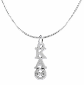 <BR> WHOLESALE FASHION SORORITY JEWELRY <BR> EXCLUSIVELY OURS!! <BR> AN ALLAN ROBIN DESIGN!! <BR>               HYPOALLERGENIC - SAFE !!     <BR>          LEAD, NICKEL & CADMIUM FREE!!    <BR>    W882N2 - OFFICIAL SILVER TONE GREEK  <BR>KAPPA ALPHA THETA SORORITY CHARM ON SNAKE <Br> CHAIN NECKLACE FROM $5.90 TO $9.25 �2015