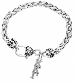 <BR> WHOLESALE FASHION SORORITY JEWELRY <BR> EXCLUSIVELY OURS!! <BR> AN ALLAN ROBIN DESIGN!! <BR>               HYPOALLERGENIC - SAFE !!     <BR>          LEAD, NICKEL & CADMIUM FREE!!    <BR>    W883B1 - OFFICIAL SILVER TONE GREEK  <BR>KAPPA KAPPA GAMMA SORORITY CHARM ON HEART LOBSTER <Br> CLASP BRACELET FROM $5.90 TO $9.25 �2015