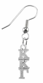 <BR> WHOLESALE FASHION SORORITY JEWELRY <BR> EXCLUSIVELY OURS!! <BR> AN ALLAN ROBIN DESIGN!! <BR>               HYPOALLERGENIC - SAFE !!     <BR>          LEAD, NICKEL & CADMIUM FREE!!    <BR>    W883E1 - OFFICIAL SILVER TONE GREEK  <BR>KAPPA KAPPA GAMMA SORORITY CHARM ON STEEL <Br>FISHHOOK EARRINGS FROM $5.90 TO $9.25 �2015