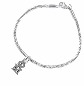 <BR> WHOLESALE FASHION SORORITY JEWELRY <BR> EXCLUSIVELY OURS!! <BR> AN ALLAN ROBIN DESIGN!! <BR>               HYPOALLERGENIC - SAFE !!     <BR>          LEAD, NICKEL & CADMIUM FREE!!    <BR>    W885B7 - OFFICIAL SILVER TONE GREEK  <BR>   PHI MU SORORITY CHARM ON SNAKE <Br> CHAIN BRACELET FROM $5.90 TO $9.25 �2015