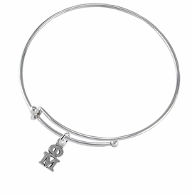 <BR> WHOLESALE FASHION SORORITY JEWELRY <BR> EXCLUSIVELY OURS!! <BR> AN ALLAN ROBIN DESIGN!! <BR>               HYPOALLERGENIC - SAFE !!     <BR>          LEAD, NICKEL & CADMIUM FREE!!    <BR>    W885B9 - OFFICIAL SILVER TONE GREEK  <BR>   PHI MU SORORITY CHARM ON ADJUSTABLE<Br> THIN WIRE BRACELET FROM $5.90 TO $9.25 �2015