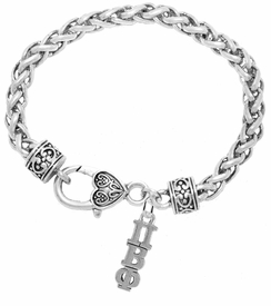 <BR> WHOLESALE FASHION SORORITY JEWELRY <BR> EXCLUSIVELY OURS!! <BR> AN ALLAN ROBIN DESIGN!! <BR>               HYPOALLERGENIC - SAFE !!     <BR>          LEAD, NICKEL & CADMIUM FREE!!    <BR>    W887B1 - OFFICIAL SILVER TONE GREEK  <BR>PI BETA PHI SORORITY CHARM ON HEART LOBSTER <Br> CLASP BRACELET FROM $5.90 TO $9.25 �2015