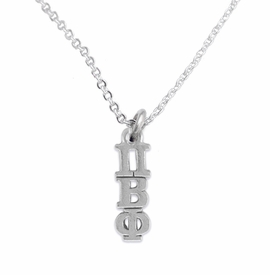 <BR> WHOLESALE FASHION SORORITY JEWELRY <BR> EXCLUSIVELY OURS!! <BR> AN ALLAN ROBIN DESIGN!! <BR>               HYPOALLERGENIC - SAFE !!     <BR>          LEAD, NICKEL & CADMIUM FREE!!    <BR>    W887N1 - OFFICIAL SILVER TONE GREEK  <BR>PI BETA PHI SORORITY CHARM ON LOBSTER <Br>CLASP CHAIN NECKLACE FROM $5.90 TO $9.25 �2015