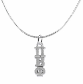 <BR> WHOLESALE FASHION SORORITY JEWELRY <BR> EXCLUSIVELY OURS!! <BR> AN ALLAN ROBIN DESIGN!! <BR>               HYPOALLERGENIC - SAFE !!     <BR>          LEAD, NICKEL & CADMIUM FREE!!    <BR>    W887N2 - OFFICIAL SILVER TONE GREEK  <BR>PI BETA PHI SORORITY CHARM ON SNAKE <Br> CHAIN NECKLACE FROM $5.90 TO $9.25 �2015
