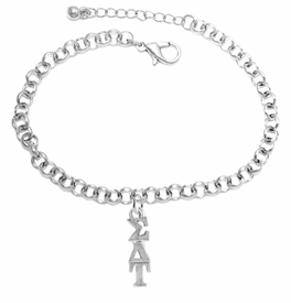 <bR>       WHOLESALE FASHION SORORITY JEWELRY     <BR>                       EXCLUSIVELY OURS!!     <BR>                  AN ALLAN ROBIN DESIGN!!      <BR>                 HYPOALLERGENIC - SAFE !!     <BR>            LEAD, NICKEL & CADMIUM FREE!!      <BR>      W889B2 - OFFICIAL SILVER TONE GREEK    <BR>SIGMA DELTA TAU SORORITY CHARM ON LOBSTER <Br> CLASP BRACELET FROM $5.90 TO $9.25 �2015