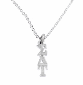<bR>       WHOLESALE FASHION SORORITY JEWELRY     <BR>                       EXCLUSIVELY OURS!!     <BR>                  AN ALLAN ROBIN DESIGN!!      <BR>                 HYPOALLERGENIC - SAFE !!     <BR>            LEAD, NICKEL & CADMIUM FREE!!      <BR>      W889N1 - OFFICIAL SILVER TONE GREEK    <BR>  SIGMA DELTA TAU SORORITY CHARM ON DELICATE  <Br>CHAIN LINK NECKLACE FROM $5.90 TO $9.25 �2015
