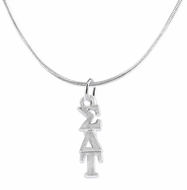 <bR>       WHOLESALE FASHION SORORITY JEWELRY     <BR>                       EXCLUSIVELY OURS!!     <BR>                  AN ALLAN ROBIN DESIGN!!      <BR>                 HYPOALLERGENIC - SAFE !!     <BR>            LEAD, NICKEL & CADMIUM FREE!!      <BR>      W889N2 - OFFICIAL SILVER TONE GREEK    <BR>  SIGMA DELTA TAU SORORITY CHARM ON DELICATE  <Br>SNAKE CHAIN NECKLACE FROM $5.90 TO $9.25 �2015