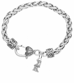 <BR> WHOLESALE FASHION SORORITY JEWELRY <BR> EXCLUSIVELY OURS!! <BR> AN ALLAN ROBIN DESIGN!! <BR>               HYPOALLERGENIC - SAFE !!     <BR>          LEAD, NICKEL & CADMIUM FREE!!    <BR>    W893B1 - OFFICIAL SILVER TONE GREEK  <BR>   SIGMA KAPPA SORORITY CHARM ON HEART LOBSTER <Br> CLASP BRACELET FROM $5.90 TO $9.25 �2015