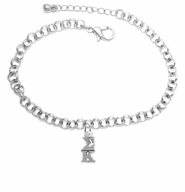 <BR> WHOLESALE FASHION SORORITY JEWELRY <BR> EXCLUSIVELY OURS!! <BR> AN ALLAN ROBIN DESIGN!! <BR>               HYPOALLERGENIC - SAFE !!     <BR>          LEAD, NICKEL & CADMIUM FREE!!    <BR>    W893B2 - OFFICIAL SILVER TONE GREEK  <BR>   SIGMA KAPPA SORORITY CHARM ON LOBSTER <Br> CLASP BRACELET FROM $5.90 TO $9.25 �2015