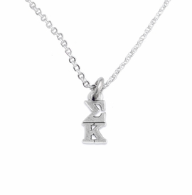 <BR> WHOLESALE FASHION SORORITY JEWELRY <BR> EXCLUSIVELY OURS!! <BR> AN ALLAN ROBIN DESIGN!! <BR>               HYPOALLERGENIC - SAFE !!     <BR>          LEAD, NICKEL & CADMIUM FREE!!    <BR>    W893N1 - OFFICIAL SILVER TONE GREEK  <BR>   SIGMA KAPPA SORORITY CHARM ON LOBSTER <Br>CLASP CHAIN NECKLACE FROM $5.90 TO $9.25 �2015