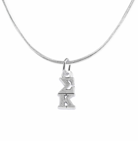 <BR> WHOLESALE FASHION SORORITY JEWELRY <BR> EXCLUSIVELY OURS!! <BR> AN ALLAN ROBIN DESIGN!! <BR>               HYPOALLERGENIC - SAFE !!     <BR>          LEAD, NICKEL & CADMIUM FREE!!    <BR>    W893N2 - OFFICIAL SILVER TONE GREEK  <BR>   SIGMA KAPPA SORORITY CHARM ON LOBSTER <Br>CLASP SNAKE CHAIN NECKLACE FROM $5.90 TO $9.25 �2015