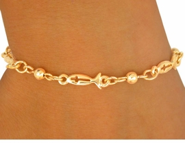 <br> W8940B - POLISHED GOLD FINISH<BR>CHRISTIAN FISH & CROSS CUT-OUT<BR>    BRACELET FROM $2.25 TO $5.00