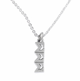 <bR>       WHOLESALE FASHION SORORITY JEWELRY    <BR>                       EXCLUSIVELY OURS!!    <BR>                  AN ALLAN ROBIN DESIGN!!     <BR>                 HYPOALLERGENIC - SAFE !!    <BR>            LEAD, NICKEL & CADMIUM FREE!!     <BR>      W895N1 - OFFICIAL SILVER TONE GREEK   <BR>SIGMA SIGMA SIGMA SORORITY CHARM ON DELICATE <Br>CHAIN LINK NECKLACE FROM $5.90 TO $9.25 �2015
