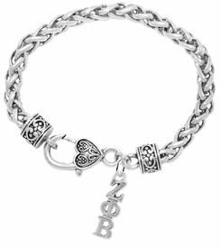 <bR>      WHOLESALE FASHION SORORITY JEWELRY  <BR>                       EXCLUSIVELY OURS!!  <BR>                  AN ALLAN ROBIN DESIGN!!   <BR>                 HYPOALLERGENIC - SAFE !!   <BR>            LEAD, NICKEL & CADMIUM FREE!!    <BR>      W899B1 - OFFICIAL SILVER TONE GREEK  <BR>    ZETA PHI BETA SORORITY CHARM ON HEART <Br> CLASP BRACELET FROM $5.90 TO $9.25 �2015