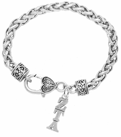 <BR> WHOLESALE FASHION SORORITY JEWELRY <BR> EXCLUSIVELY OURS!! <BR> AN ALLAN ROBIN DESIGN!! <BR>               HYPOALLERGENIC - SAFE !!     <BR>          LEAD, NICKEL & CADMIUM FREE!!    <BR>    W900B1 - OFFICIAL SILVER TONE GREEK  <BR>ZETA TAU ALPHA SORORITY CHARM ON HEART LOBSTER <Br> CLASP BRACELET FROM $5.90 TO $9.25 �2015