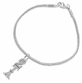 <BR> WHOLESALE FASHION SORORITY JEWELRY <BR> EXCLUSIVELY OURS!! <BR> AN ALLAN ROBIN DESIGN!! <BR>               HYPOALLERGENIC - SAFE !!     <BR>          LEAD, NICKEL & CADMIUM FREE!!    <BR>    W900B7 - OFFICIAL SILVER TONE GREEK  <BR>ZETA TAU ALPHA SORORITY CHARM ON SNAKE <Br> CHAIN BRACELET FROM $5.90 TO $9.25 �2015