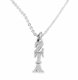 <BR> WHOLESALE FASHION SORORITY JEWELRY <BR> EXCLUSIVELY OURS!! <BR> AN ALLAN ROBIN DESIGN!! <BR>               HYPOALLERGENIC - SAFE !!     <BR>          LEAD, NICKEL & CADMIUM FREE!!    <BR>    W900N1 - OFFICIAL SILVER TONE GREEK  <BR>ZETA TAU ALPHA SORORITY CHARM ON CHAIN<Br> LINK NECKLACE FROM $5.90 TO $9.25 �2015