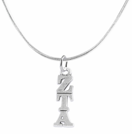 <BR> WHOLESALE FASHION SORORITY JEWELRY <BR> EXCLUSIVELY OURS!! <BR> AN ALLAN ROBIN DESIGN!! <BR>               HYPOALLERGENIC - SAFE !!     <BR>          LEAD, NICKEL & CADMIUM FREE!!    <BR>    W900N2 - OFFICIAL SILVER TONE GREEK  <BR>ZETA TAU ALPHA SORORITY CHARM ON SNAKE <Br> CHAIN NECKLACE FROM $5.90 TO $9.25 �2015