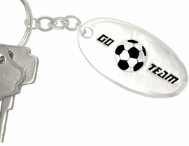"""<bR> W9073KC - """"GO TEAM"""" 3-D SOCCER BALL<br>SILVER FINISH KEY CHAIN AS LOW AS $1.99<br>     EXCLUSIVELY OURS! WE ARE THE ONLY<Br>                            MANUFACTURER!"""