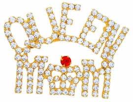 """<bR>     W9080P - GOLD FINISH TRIM<Br>AUSTRIAN CRYSTAL """"QUEEN MOM""""<Br>     RED HAT PIN AS LOW AS $7.90"""