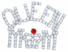 """<bR>      W9081P - SILVER TONE TRIM<Br>AUSTRIAN CRYSTAL """"QUEEN MOM""""<Br>     RED HAT PIN AS LOW AS $7.90"""