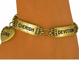 <Br>W9132B - ANTIQUE GOLD FINISH<Br>       INSPIRATIONAL WORD TILE<br>BRACELET FROM $5.06 TO $11.25