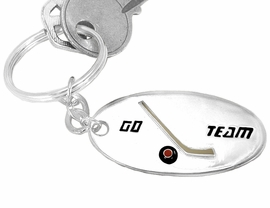 "<BR>       W9209KC - ""GO TEAM"" 3-D HOCKEY<br>SILVER FINISH KEY CHAIN AS LOW AS $1.99 <br>           EXCLUSIVELY OURS! WE ARE THE<Br>                     ONLY MANUFACTURER!"