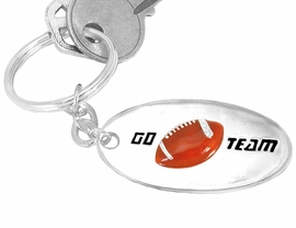 "<Br>     W9211KC - ""GO TEAM"" 3-D FOOTBALL<br>SILVER FINISH KEY CHAIN AS LOW AS $2.50<br>     EXCLUSIVELY OURS! WE ARE THE ONLY<Br>                           MANUFACTURER!"