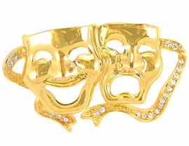 <bR> W9292P - AUSTRIAN CRYSTAL<Br>GOLD FINISH DRAMA MASK PIN<Br>               AS LOW AS $2.40