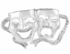 <bR> W9293P - AUSTRIAN CRYSTAL<Br>SILVER TONE DRAMA MASK PIN<Br>               AS LOW AS $2.40