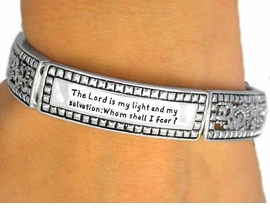 "<BR>   W9355B - DECORATIVE SILVER TONE<br>""THE LORD IS MY LIGHT..."" PSALM 27:1<Br>    & AUSTRIAN CRYSTAL CROSS DROP<Br>                    STRETCH BRACELET<br>             YOUR LOW PRICE IS $7.85"
