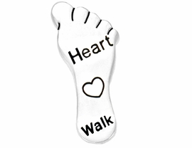 "W9441P - POLISHED SILVER FINISH<Br>   ""HEART WALK"" FOOTPRINT TACK<Br>                PIN  AS LOW AS $.95<br>   EXCLUSIVELY OURS! WE ARE THE<Br>ONLY MANUFACTURER OF THIS PIN!"