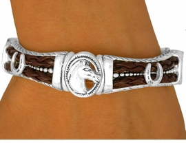 <bR>  W9445B - POLISHED SILVER TONE<br> HORSE HEAD OVAL & DOUBLE-ROW<Br>BROWN FAUX LEATHER TILE STRETCH<br>    BRACELET FROM $5.63 TO $12.50