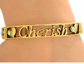 "<bR>  W9506B - POLISHED GOLD FINISH<bR> ""MEMORIES, CHERISH, CELEBRATE""<br>           STRETCH BRACELET FROM<br>                         $3.35 TO $7.50"