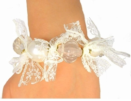 <Br>    W9580B - GLOSSY FAUX PEARL,<Br>CLEAR BEAD, & DECORATIVE RIBBON<br>           STRETCH BRACELET FROM<Br>                      $4.50 TO $10.00