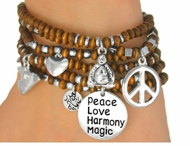 "W9607B - 6-PIECE WOODEN BEADED<br>  ""PEACE"" DROP STRETCH BRACELET<Br>            SET FROM $6.75 TO $15.00"