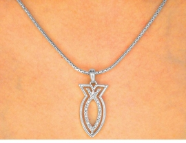 W9795NE - POLISHED SILVER FINISH<br>   & AUSTRIAN CRYSTAL CHRISTIAN<Br>     FISH NECKLACE & EARRING SET<Br>              FROM $5.60 TO $10.00