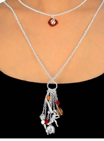"W9821N - POLISHED SILVER FINISH<Br>       DOUBLE-CHAIN ""BASEBALL""<Br>        NECKLACE AS LOW AS $5.15"